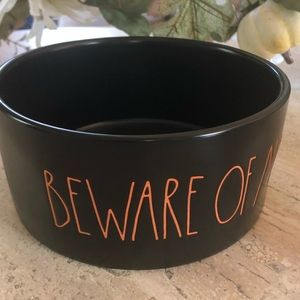 "Rae Dunn Other - Rae Dunn ""BEWARE OF ME"" 6 inch dog bowl orange"